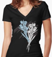 TULIPS FOR YOUR LIPS Women's Fitted V-Neck T-Shirt