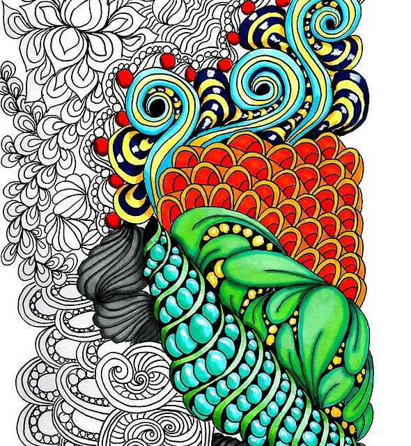 Colorful zen doodle.  by Maria-So