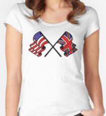 US & UK Crossed Flags Women's Fitted Scoop T-Shirt