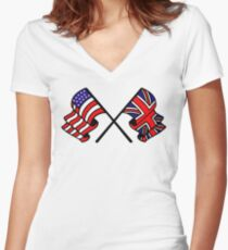US & UK Crossed Flags Women's Fitted V-Neck T-Shirt