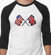 US & UK Crossed Flags Men's Baseball ¾ T-Shirt