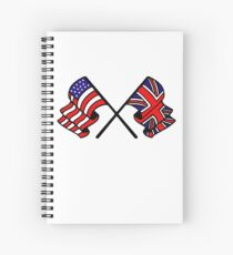 US & UK Crossed Flags Spiral Notebook