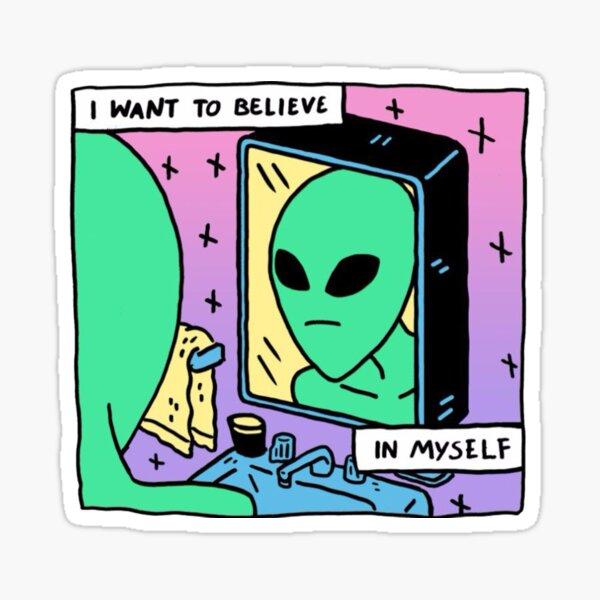 Nicht selbstbewusster Alien Sticker