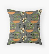 Gray Mid-Century Modern Houseplants, Atomic Patterns Throw Pillow