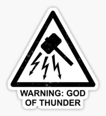 Warning: God of Thunder Sticker