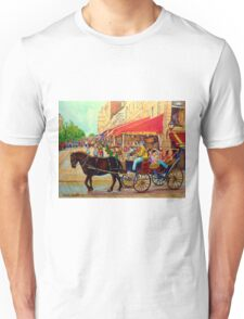 PAINTINGS OF CANADIAN CITY OLD MONTREAL RESTAURANTS AND CALECHE URBAN CITY SCENES  Unisex T-Shirt