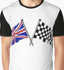 Crossed flags - Racing and Great Britain Graphic T-Shirt