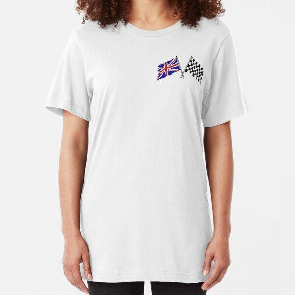 Crossed flags - Racing and Great Britain Slim Fit T-Shirt