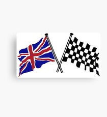 Crossed flags - Racing and Great Britain Canvas Print