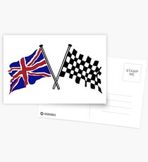 Crossed flags - Racing and Great Britain Postcards