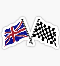 Crossed flags - Racing and Great Britain Glossy Sticker