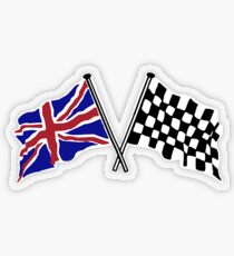Crossed flags - Racing and Great Britain Transparent Sticker