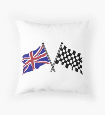 Crossed flags - Racing and Great Britain Throw Pillow