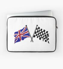 Crossed flags - Racing and Great Britain Laptop Sleeve