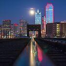 Dallas RED Skyline Train Track Reflection  by josephhaubert