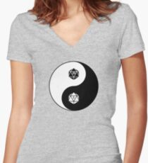 Yin Yang d20 Dungeons and Dragons Dice RPG Tee Women's Fitted V-Neck T-Shirt