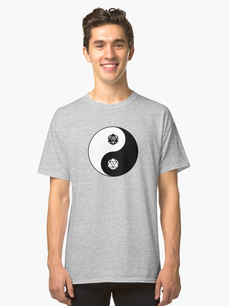 Yin Yang d20 Dungeons and Dragons Dice RPG Tee Classic T-Shirt Front