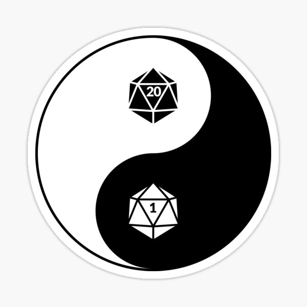 Yin Yang d20 Dungeons and Dragons Dice RPG Tee Sticker