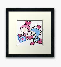 Pink Bomberman + Cyan Bomberman - Super Bomberman R Framed Print