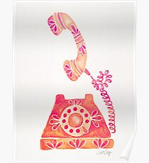 Vintage Rotary Phone – Peach Palette Poster