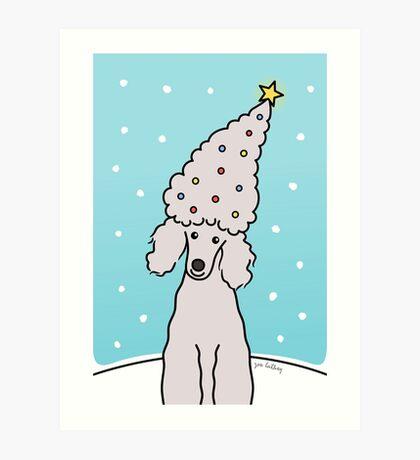 Poodle Christmas Tree Card Art Print