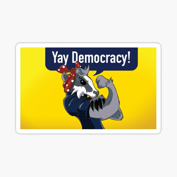 Yay Democracy Stickers - Yellow Sticker