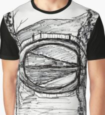 Bridge Reflection Marker Black white drawing Graphic T-Shirt