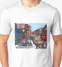 HOCKEY GAME NEAR THE BAGEL SHOP MONTREAL WINTER SCENE Unisex T-Shirt