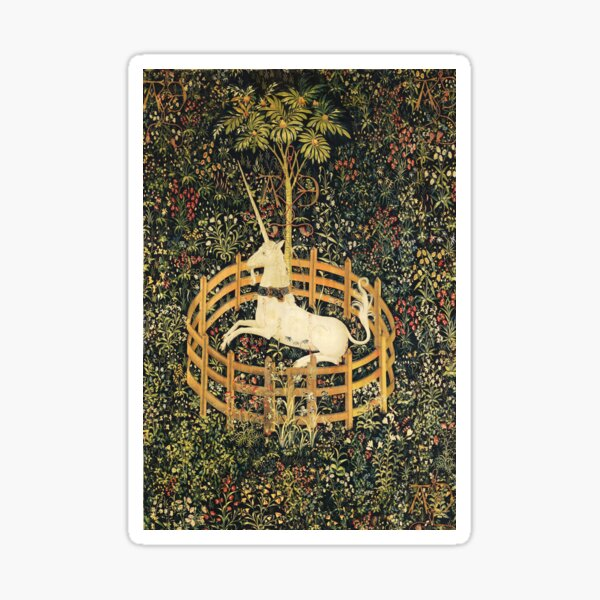 UNICORN AND GOTHIC FANTASY FLOWERS, GREEN FLORAL MOTIFS Sticker