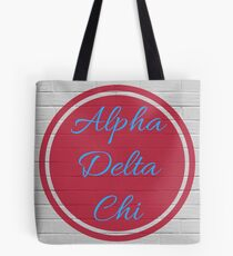 Alpha Delta Chi Circle Flame & Blue Tote Bag