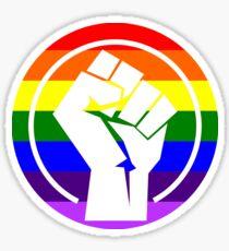 """Resistance Fist """"LGBTQIA+ Flag"""" Sticker"""