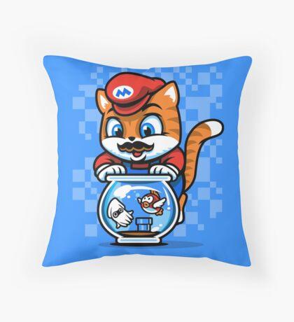 It's A ME-OW, Mario! Throw Pillow