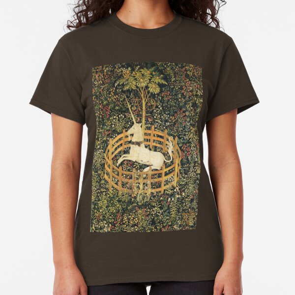 UNICORN AND GOTHIC FANTASY FLOWERS,FLORAL MOTIFS Classic T-Shirt