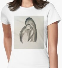 penguin paternal love Women's Fitted T-Shirt