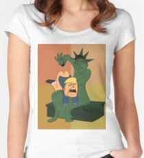 Toddler Trump Getting Spanked by the Statue of Liberty Women's Fitted Scoop T-Shirt