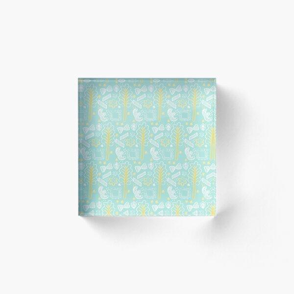 Blue Pasta Pattern Acrylic Block