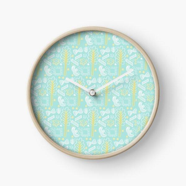 Blue Pasta Pattern Clock