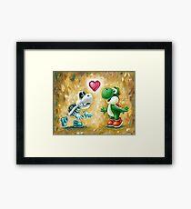 Yoshi Loves Dry Bones! Yoshi Art, Dry Bones Art, Video Game Art Framed Print