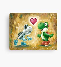 Yoshi Loves Dry Bones! Yoshi Art, Dry Bones Art, Video Game Art Canvas Print