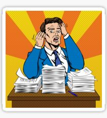 Stressed Man at Work in Pop Art Style with a Bunch of Paper Documents Sticker
