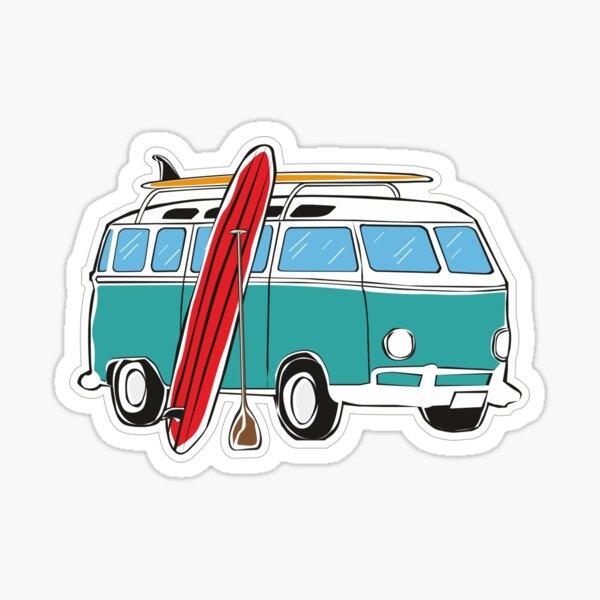 Surf Bus Camper Van Camping Minivan Car Sticker