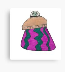 Alien Saucer purple and green  Canvas Print