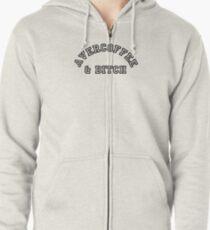AVERCOFFEE & BITCH: Black logo Zipped Hoodie