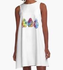 Buddhas: See no, Hear no, Speak no evil 2 A-Line Dress