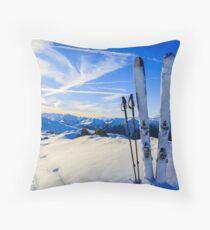 Ski Mountain Scene Throw Pillow