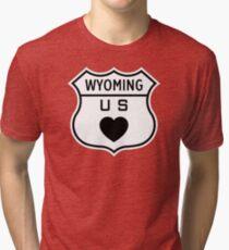 Wyoming US Highway love Tri-blend T-Shirt