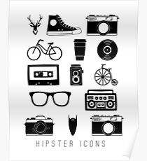 Hipster icons Poster