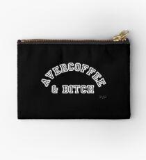 AVERCOFFEE & BITCH: White logo Studio Pouch