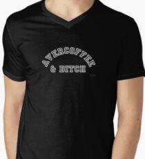 AVERCOFFEE & BITCH: White logo Men's V-Neck T-Shirt