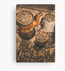 Old coffee brew house beans Canvas Print
